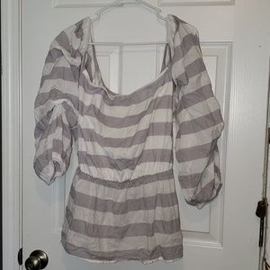 Lane Bryant Off Shoulder grey and white stripe top